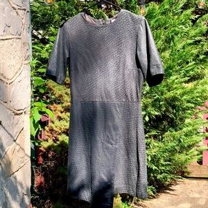 Topshop faux leather grey shift dress, 6